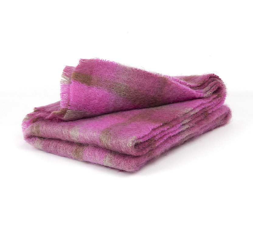 Brushed Mohair Throw - Pink Check
