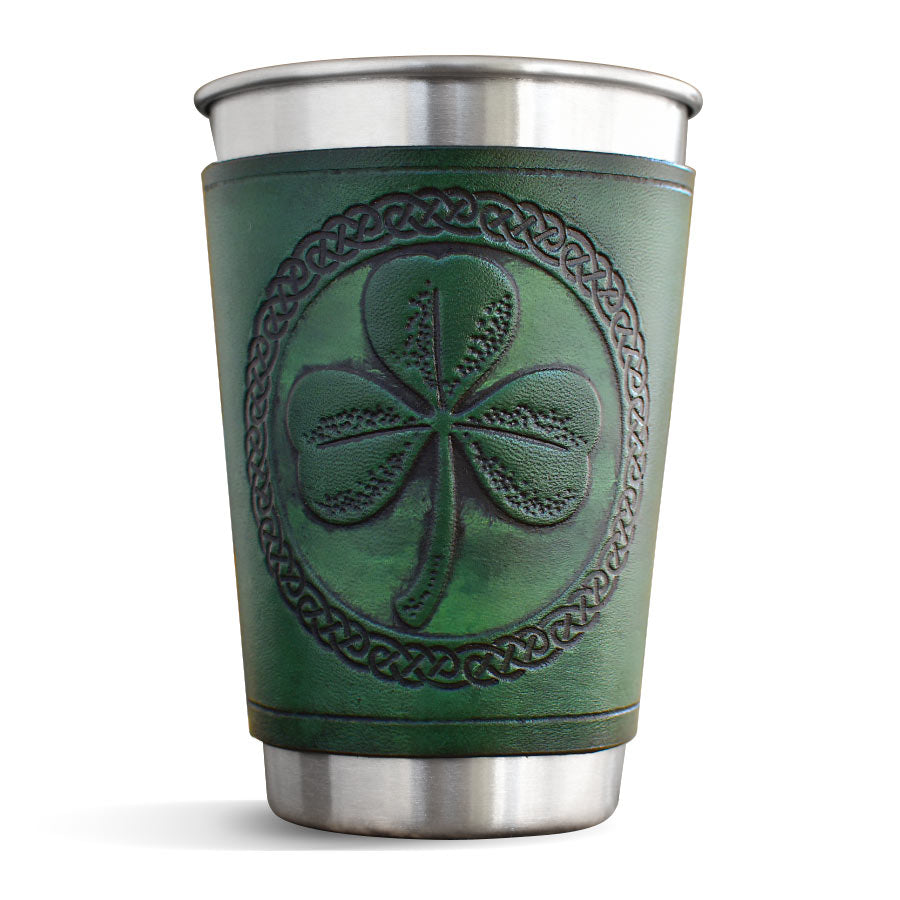 Green Leather Wrapped Pint - Shamrock