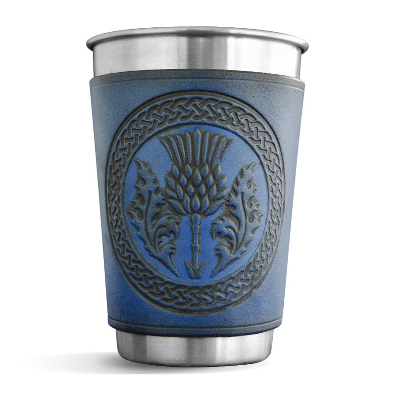 Blue Leather Wrapped Pint - Scottish Thistle