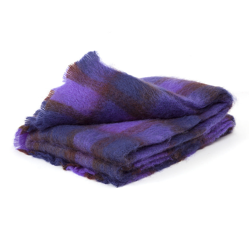 Brushed Mohair Throw - Purple Check