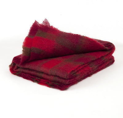 Brushed Mohair Throw - Red Check