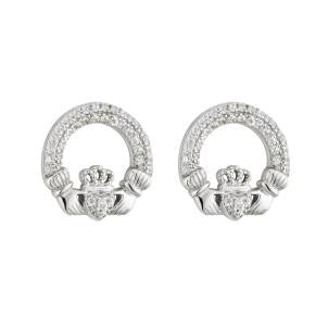 Claddagh Stud Earrings w/ Clear Stones