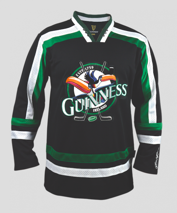 Front of Guinness Toucan Hockey Jersey Green and Black with image of Toucan and the word Guinness across the chest
