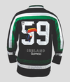 Front of Guinness Toucan Hockey Jersey Green and Black with image of Toucan and the numbers 17 small and 59 large across the back