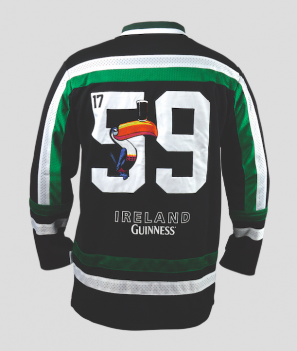 7add76f39 Front of Guinness Toucan Hockey Jersey Green and Black with image of Toucan  and the numbers ...