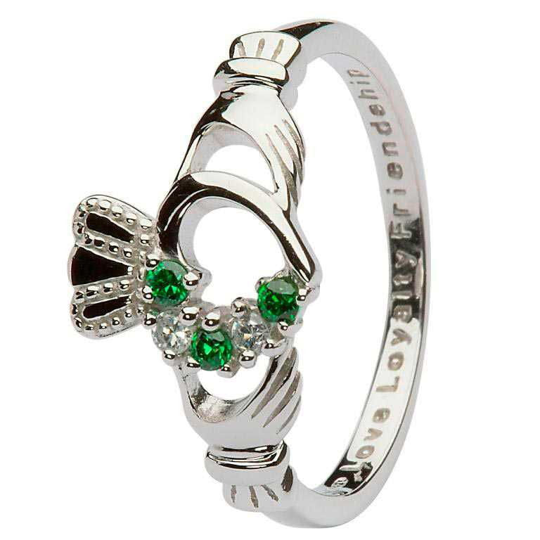 Open Heart Claddagh Ring w/ Green Crystals