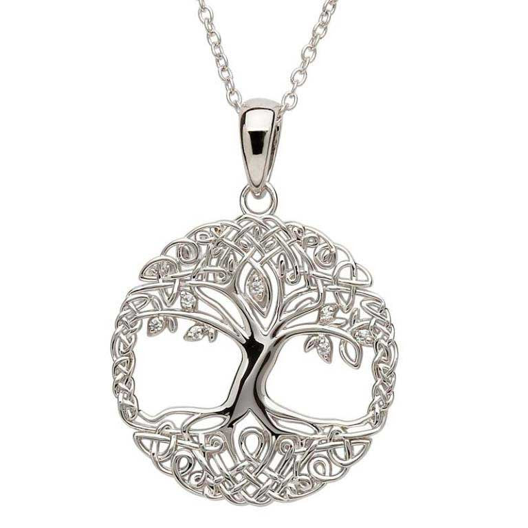 SP102CZ Tree of Life Sterling Silver Necklace with CZ by Shanore