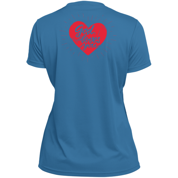 CTM/GOD LOVES YOU Ladies' Wicking T-Shirt Front/Back
