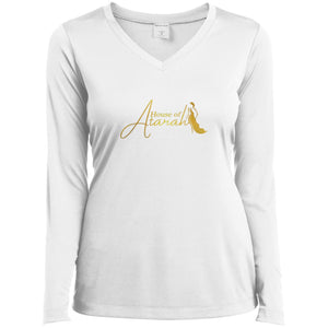 House of Atarah logo House of Atarah Ladies' LS Performance V-Neck T-Shirt