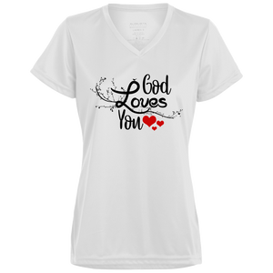 GOD LOVES YOU Ladies' Wicking T-Shirt