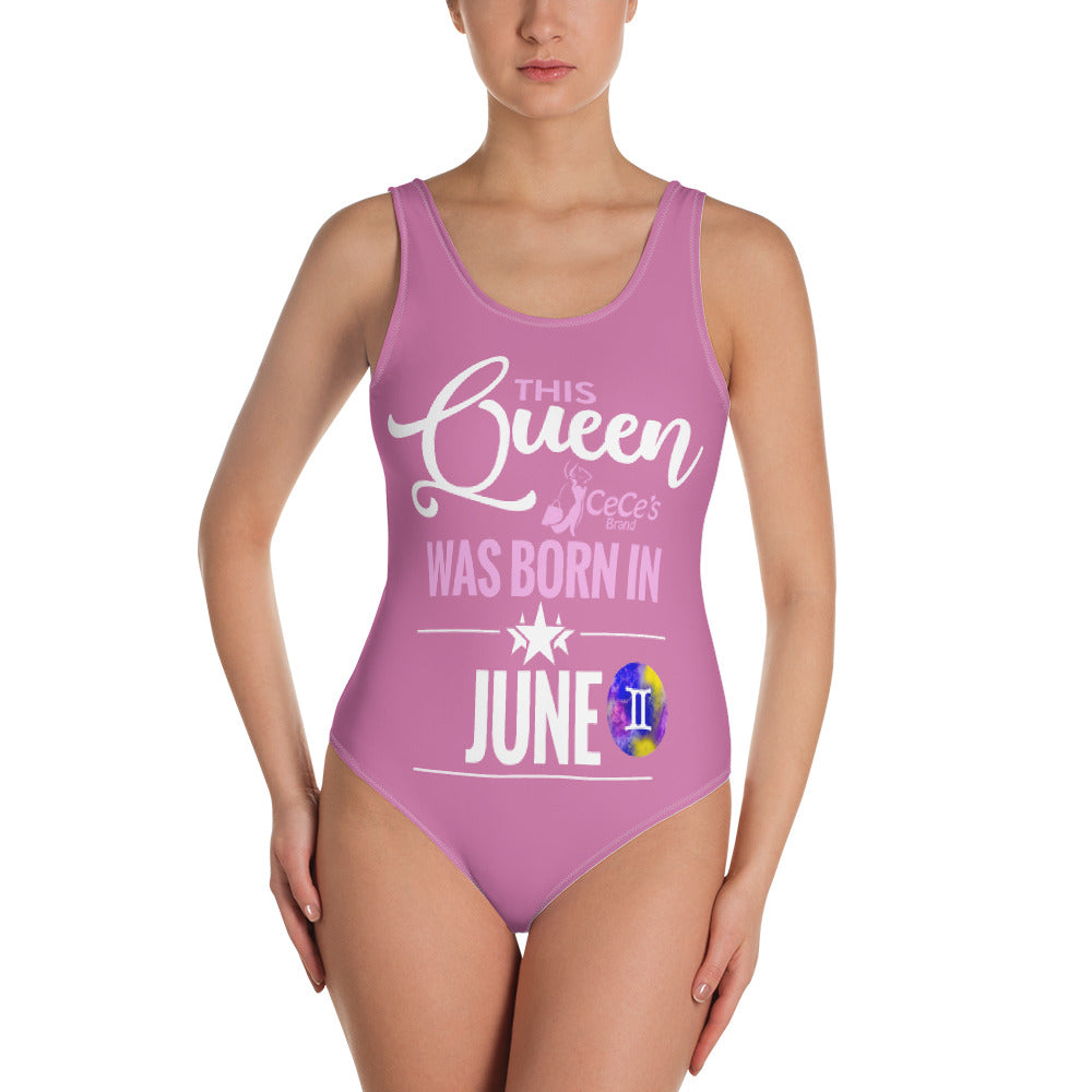 This Queen Was Born In June One-Piece Pink Swimsuit