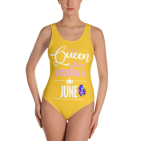 This Queen Was Born In June One-Piece Yellow Swimsuit