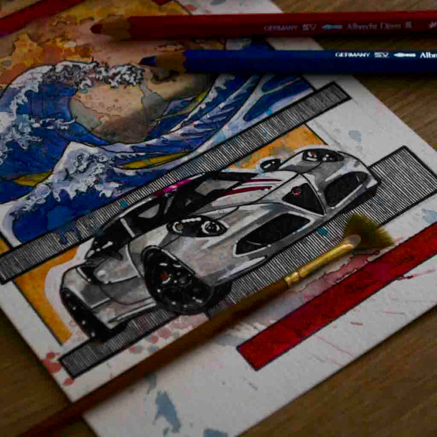 Inspiration from @americanbru /ALFA ROMEO 4C Handmade Artwork and Coloring Pages (Option Puzzle)