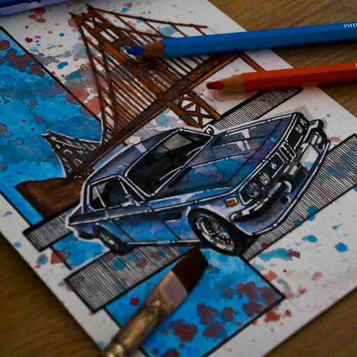 Inspiration from @bengt.bmw /BMW E9 Handmade Artwork and Coloring Pages (Option Puzzle)
