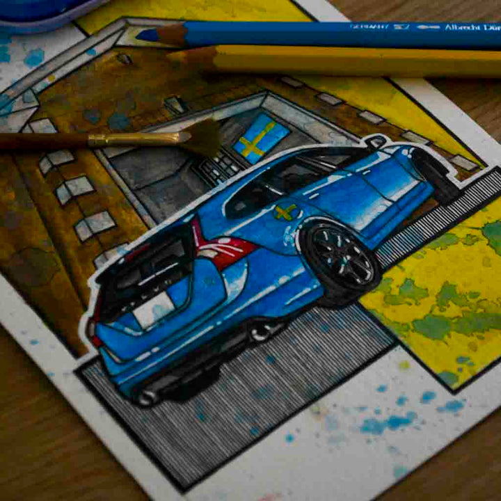 Inspiration from @1swederide /VOLVO V60 Handmade Artwork and Coloring Pages (Option Puzzle)