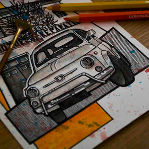 Inspiration from @whitefiat500l /FIAT 500 Handmade Artwork and Coloring Pages (Option Puzzle)