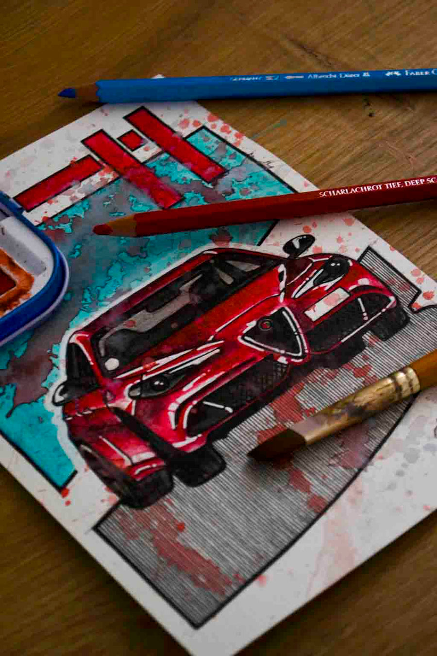 Inspiration from @choimbodeluna /ALFA ROMEO GIULIA Handmade Artwork and Coloring Pages (Option Puzzle)