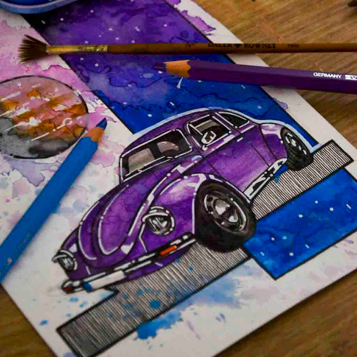 Inspiration from @vw_beetle_1973 /VOLKSWAGEN BEETLE Handmade Artwork and Coloring Pages (Option Puzzle)