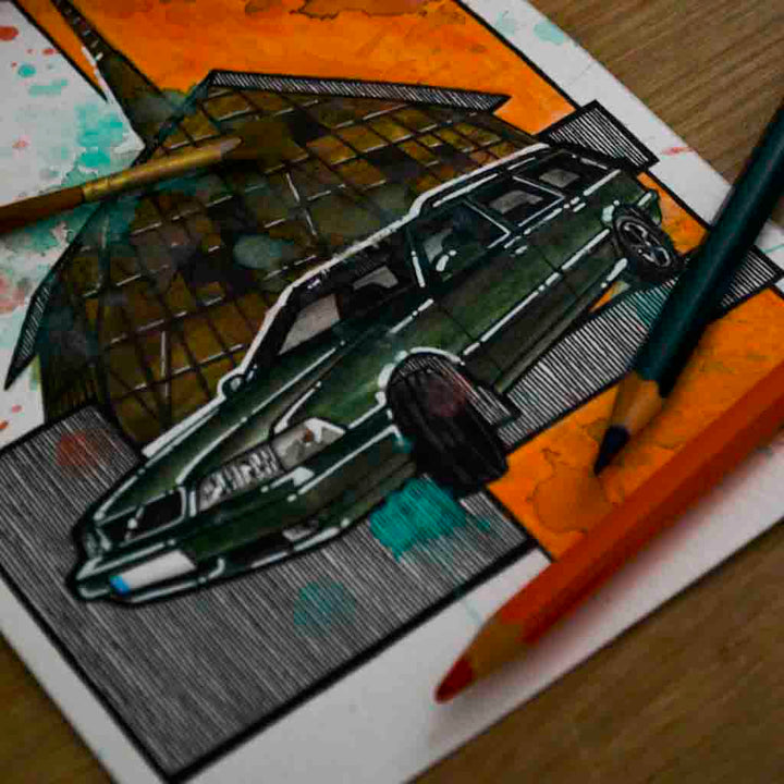 Inspiration from @vlv_mn.93 /VOLVO V70 Handmade Artwork and Coloring Pages (Option Puzzle)