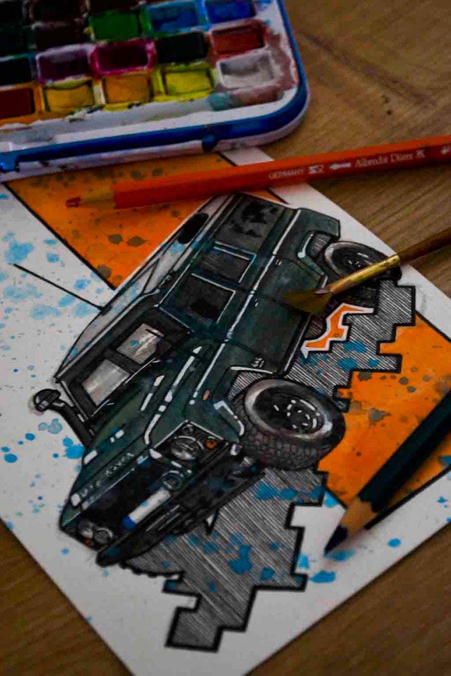 Inspiration from @polarlandy /Land Rover Defender Handmade Artwork and Coloring Pages (Option Puzzle)