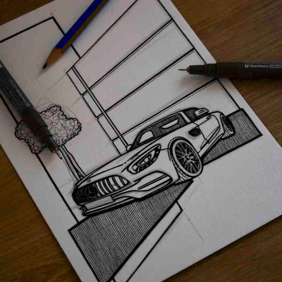 Inspiration from @thosti636 /Mercedes-Benz AMG GT C Handmade Artwork and Coloring Pages (Option Puzzle)
