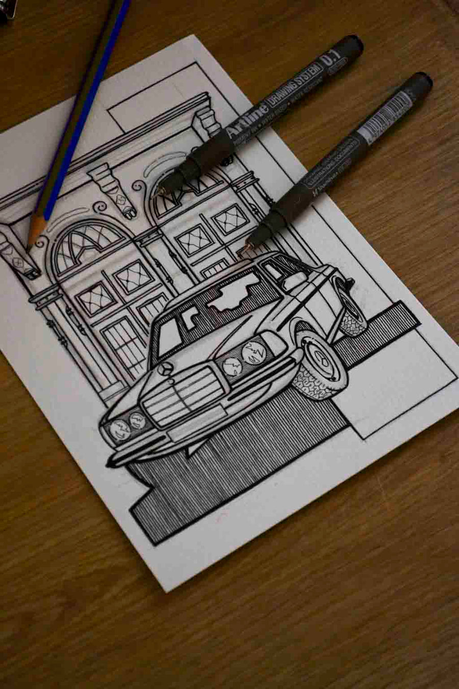 Inspiration from @vergiss_meinnicht and @mbclassic_fan /Mercedes-Benz W123 Handmade Artwork and Coloring Pages (Option Puzzle)