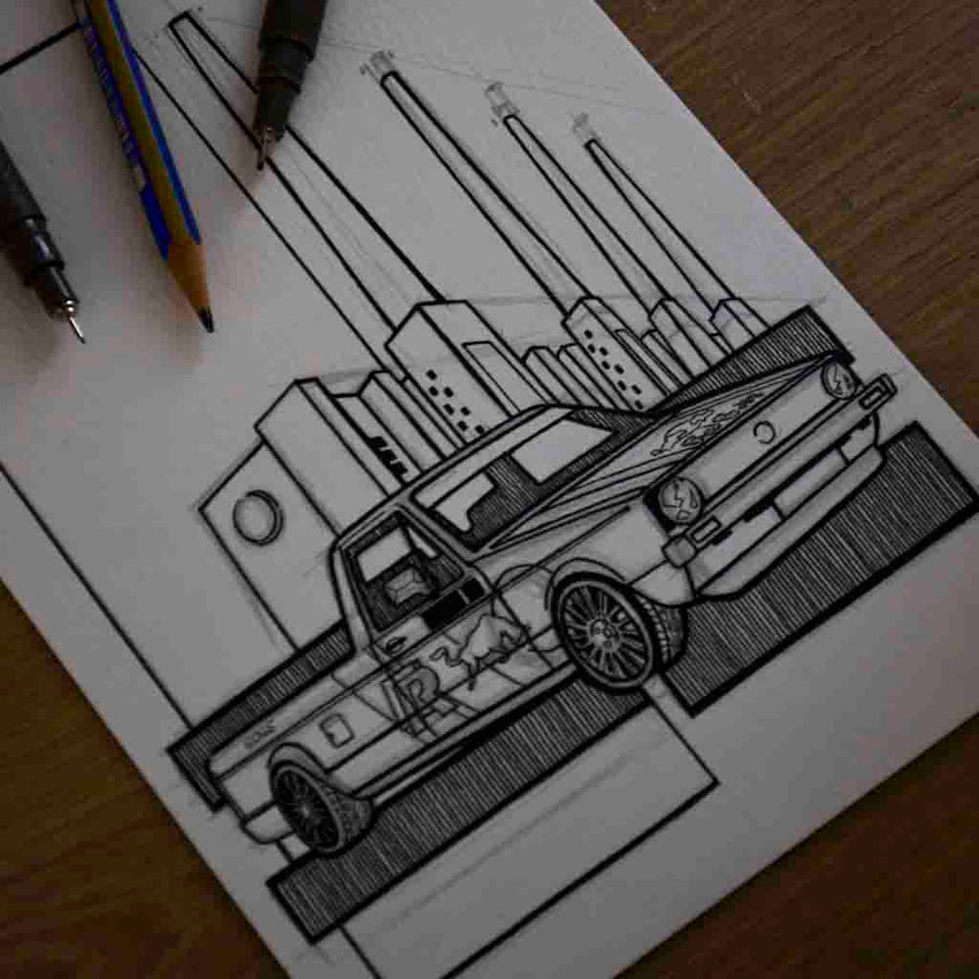 Inspiration from @mkonecaddywrc /VOLKSWAGEN CADDY mk1 Handmade Artwork and Coloring Pages (Option Puzzle)