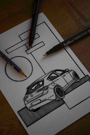Inspiration from @the.white.giuly /ALFA ROMEO Giulietta Handmade Artwork and Coloring Pages (Option Puzzle)