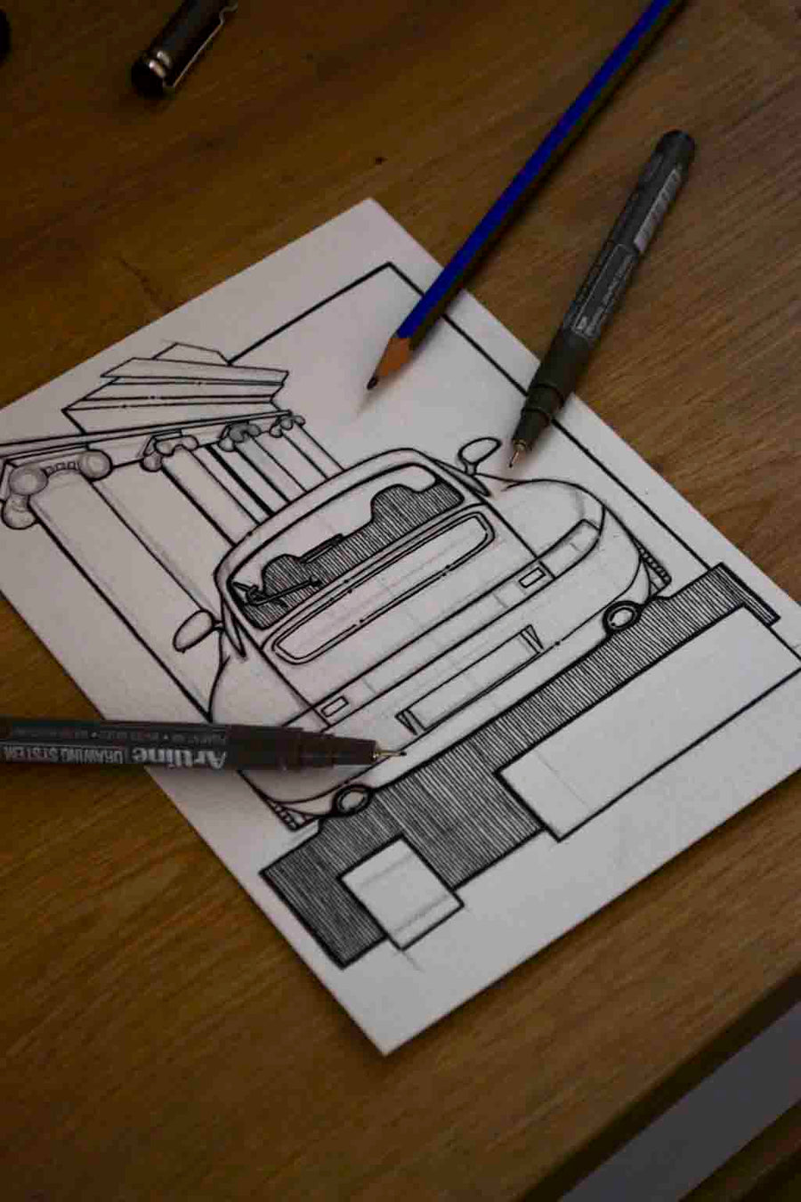 Inspiration from @993_outlaw /PORSCHE 993 Handmade Artwork and Coloring Pages (Option Puzzle)