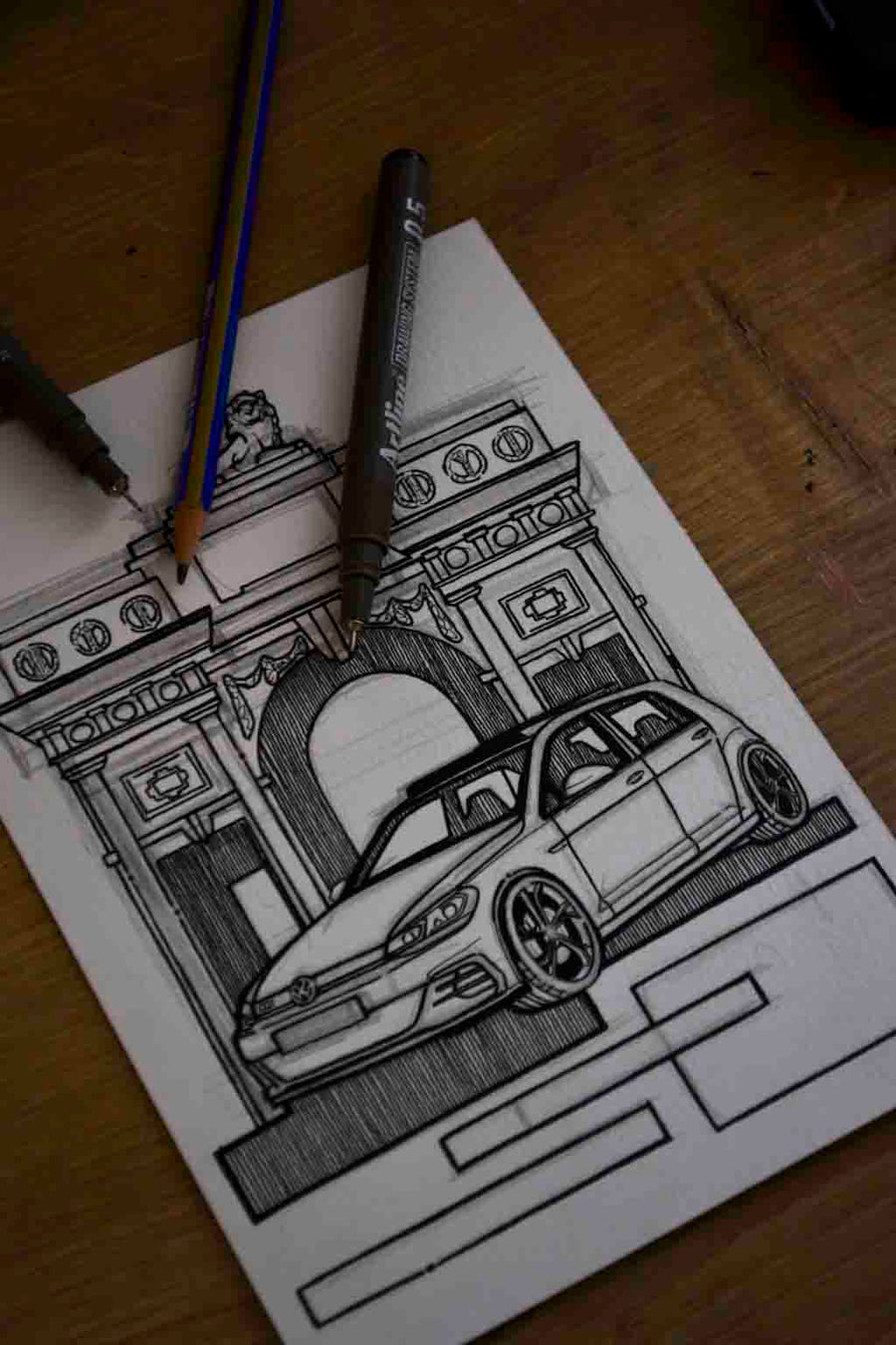 Inspiration from @helle_tcr /VOLKSWAGEN GOLF R Handmade Artwork and Coloring Pages (Option Puzzle)