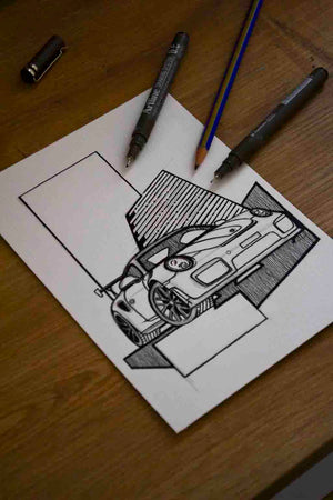 Inspiration from @mouns1104 /PORSCHE GT2 RS Handmade Artwork and Coloring Pages (Option Puzzle)