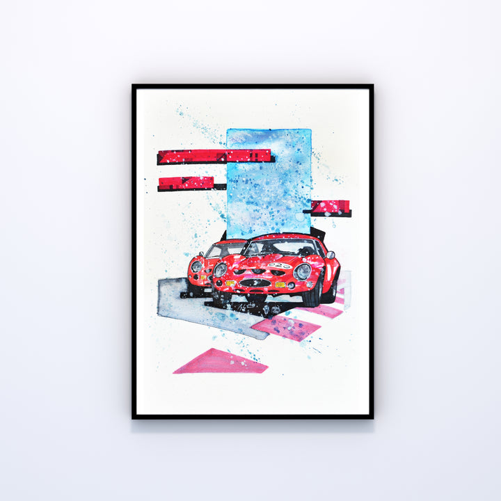 250 GTO Dirty Race Art-Unframed (Original Drawing)