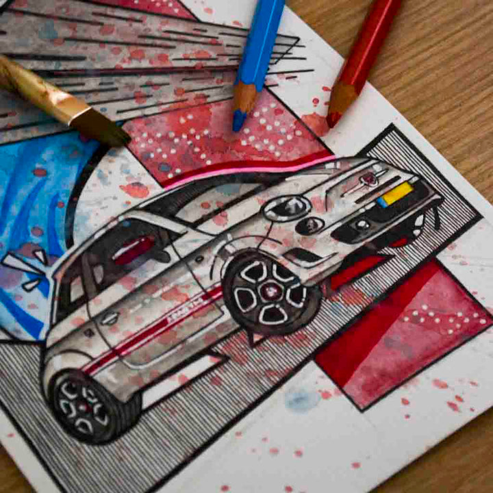 Inspiration from @abarthnl /ABARTH 500 Handmade Artwork and Coloring Pages (Option Puzzle)