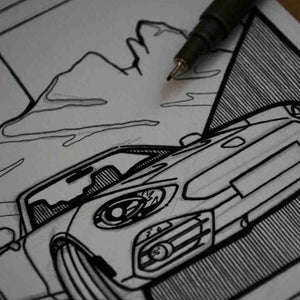 Inspiration from @bermuda.06 /ABARTH 124 SPIDER Handmade Artwork and Coloring Pages (Option Puzzle)