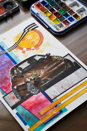 Inspiration from @espres.slow 's Fiat 500 / Handmade Artwork