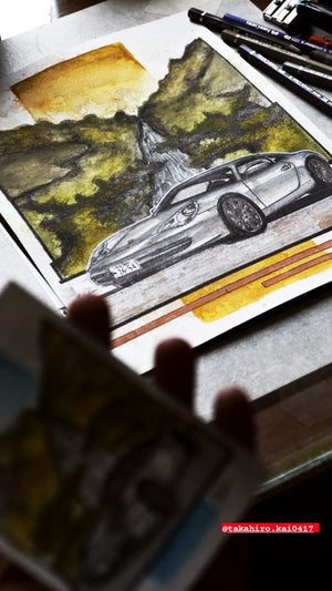 Inspiration from @takahiro.kai0417's Porsche 996 / Handmade Artwork