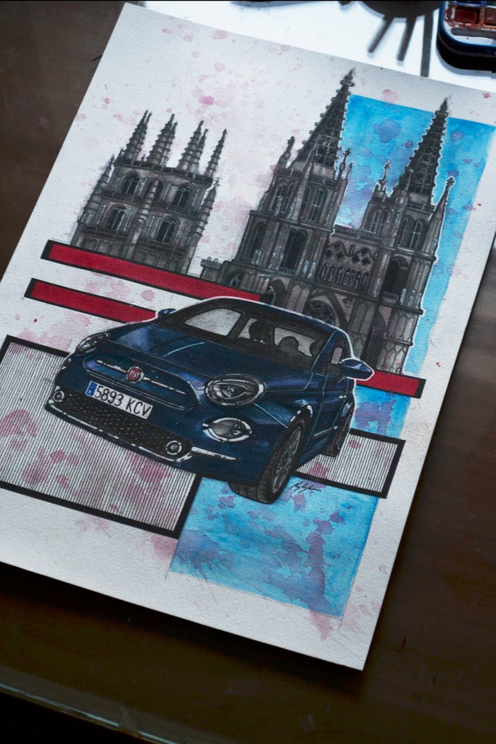 Inspiration from @franmoreno 's Fiat 500 and Mercedes Benz S205 / Handmade Artwork