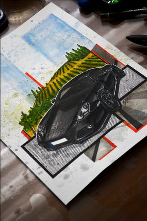 Inspiration from @porsche_go987 's 987 Cayman S / Handmade Artwork