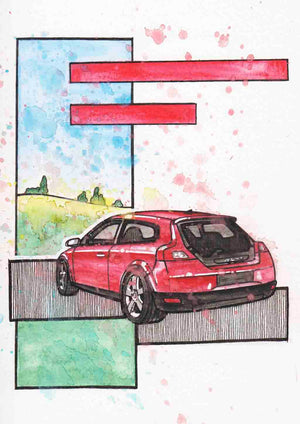 Inspiration from @cartolina.dal.giardino /VOLVO C30 Handmade Artwork and Coloring Pages (Option Puzzle)