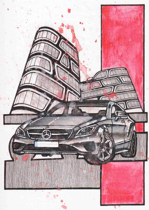 Inspiration from @csmaroti98 /Mercedes-Benz CLS Handmade Artwork and Coloring Pages (Option Puzzle)