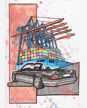 Inspiration from @w124cabriolet /Mercedes-Benz W124 Cabriolet Handmade Artwork and Coloring Pages (Option Puzzle)