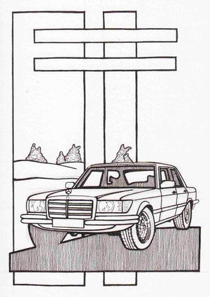 Inspiration from @el_gordito_73 /Mercedes-Benz W116 Handmade Artwork and Coloring Pages (Option Puzzle)