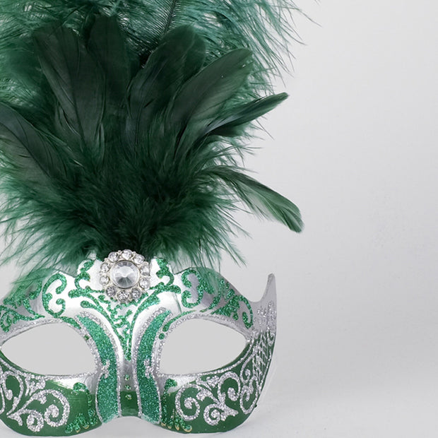 Detail eye_mask_piume_silver_green