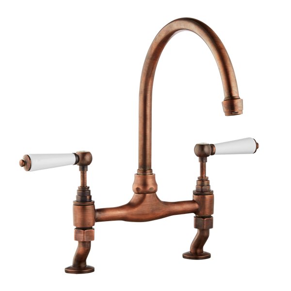 Traditional Kitchen Mixer Tap - Porcelain Levers - Antique Copper / Porcelain