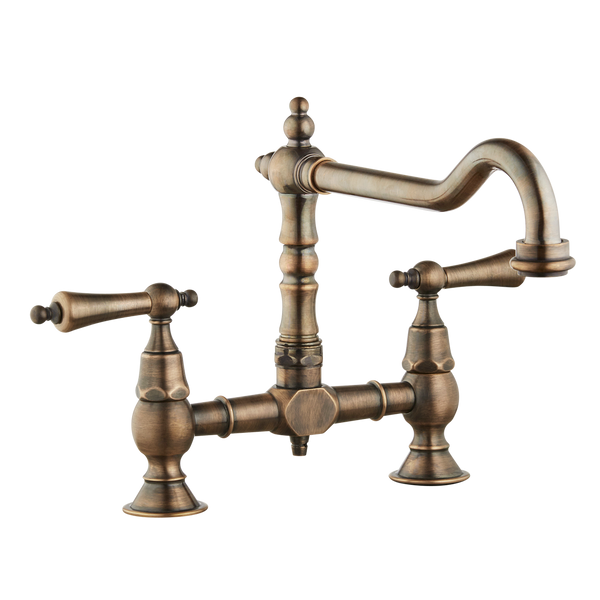 Brunel - Old English Bridge Sink Mixer - Metal Levers - Pewter / Porcelain Lever