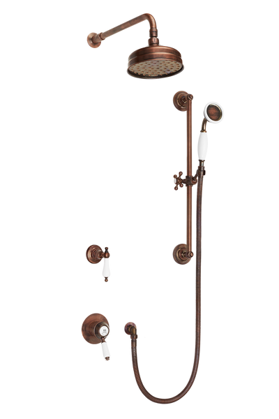 Traditional Concealed Shower System Arm Rose Diverter & Flexible Kit - Metal Levers