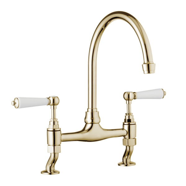 Traditional Kitchen Mixer Tap - Porcelain Levers Chrome / Porcelain