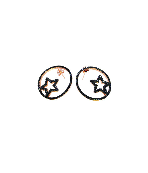 Star Earrings Black Stone