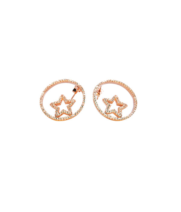 Star Earrings White Stone