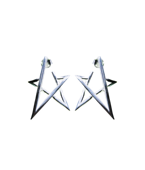 Begna Silver Star Earrings, Large